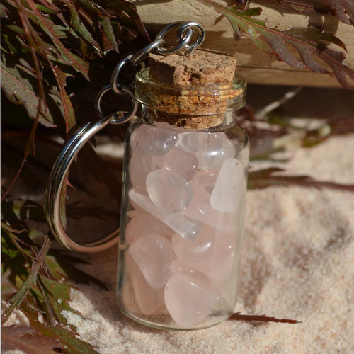 Rose Quartz Stones in a Glass Vial Keychain