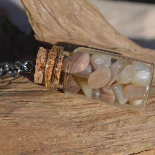 Peach Moonstones in a Glass Vial Keychain