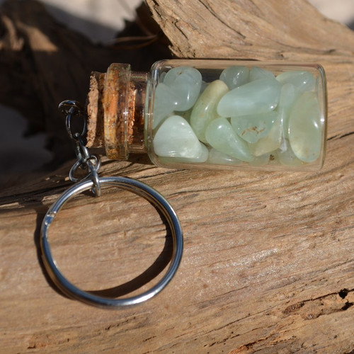 Prehnite Stones in a Glass Vial Keychain
