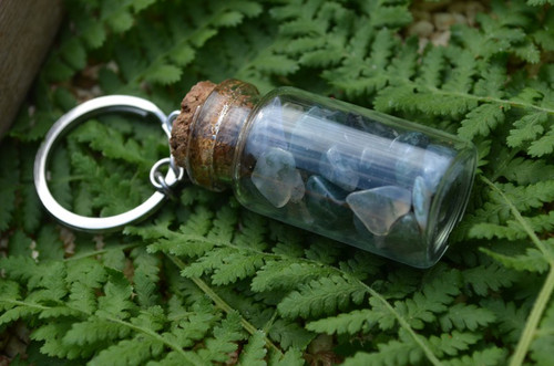 Moss Agate Stones in a Glass Vial Keychain