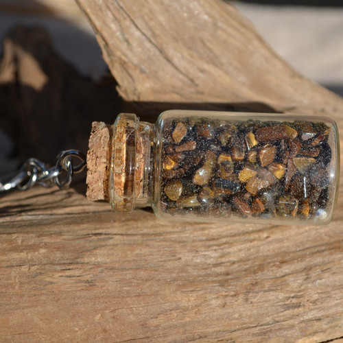 Tumbled Gold Tiger's Eye Stones in a Glass Vial Keychain