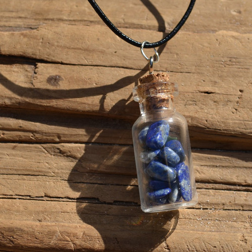 Lapis Lazuli Stones in a Glass Vial on a Leather Cord Necklace