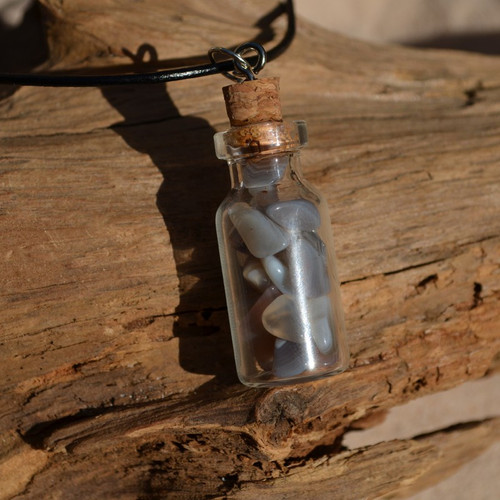 Gray Banded Agate Stones in a Glass Vial on a Leather Cord Necklace