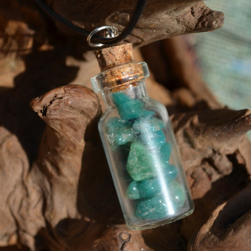 Amazonite Stones in a Glass Vial on a Leather Cord Necklace