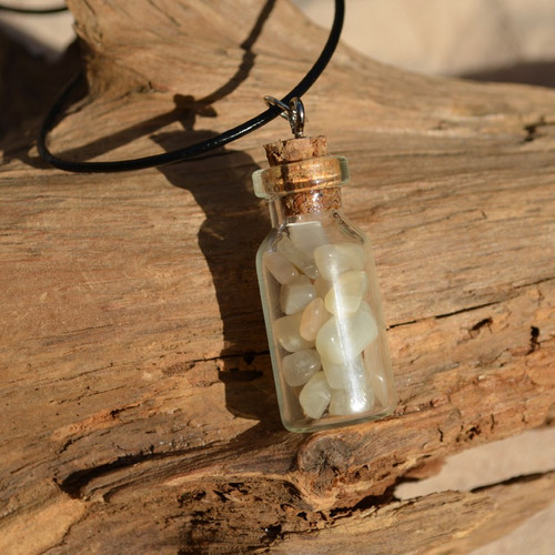 Moonstones in a Glass Vial on a Leather Cord Necklace