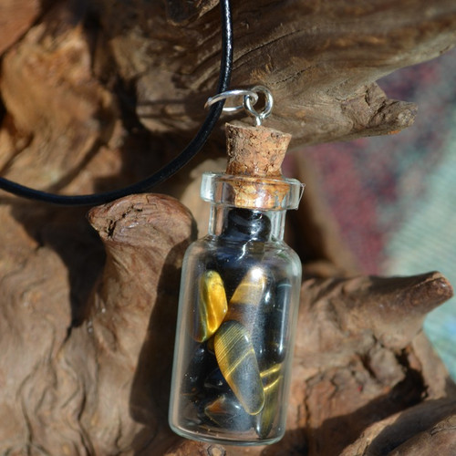 Tiger's Eye Stones in a Glass Vial on a Leather Cord Necklace