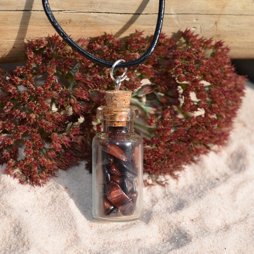 Red Tiger's Eye Stones in a Glass Vial on a Leather Cord Necklace