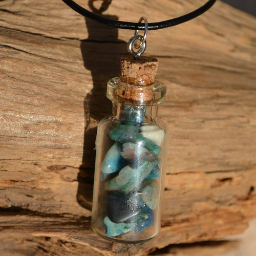 Chrysocolla Stones in a Glass Vial on a Leather Cord Necklace