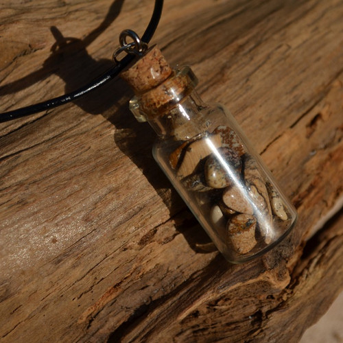 Picture Jasper Stones in a Glass Vial on a Leather Cord Necklace