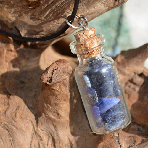 Sodalite Stones in a Glass Vial on a Leather Cord Necklace