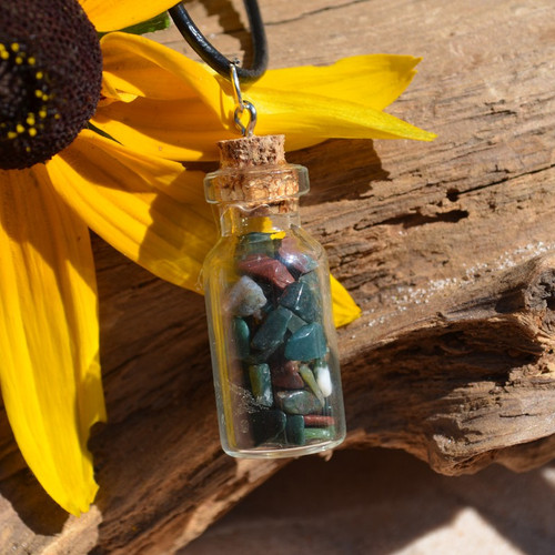 Bloodstones in a Glass Vial on a Leather Cord Necklace