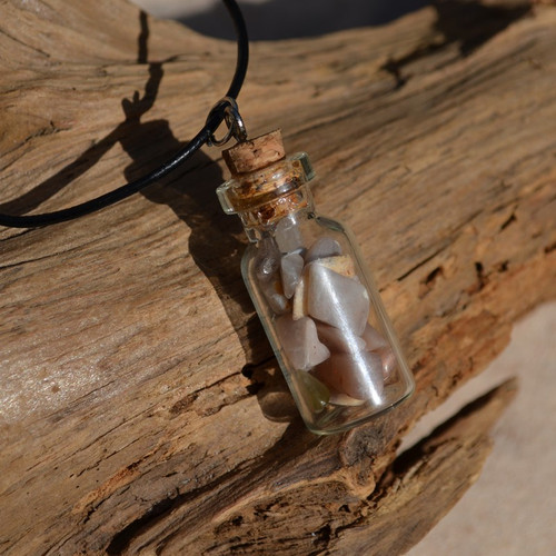 Peach Moonstones in a Glass Vial on a Leather Cord Necklace