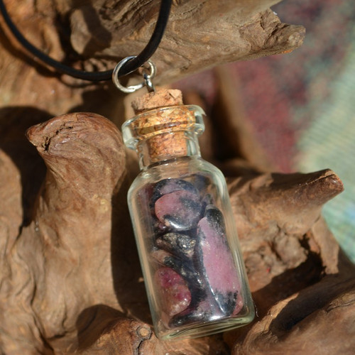 Rhodonite Stones in a Glass Vial on a Leather Cord Necklace