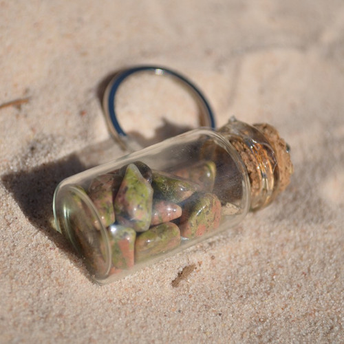 Unakite Jasper Stones in a Glass Vial Keychain