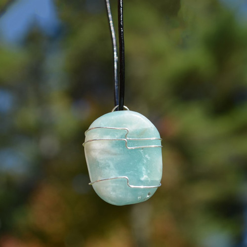 Amazonite Palm Stone Hand Wire Wrapped on a Leather Thong Necklace
