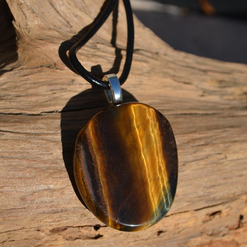 Gold Tiger's Eye Palm Stone Necklace