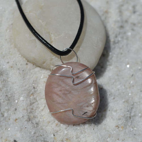 Moonstone Palm Stone Hand Wire Wrapped on a Leather Thong Necklace