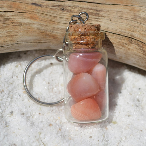 Apricot Agate Stones in a Glass Vial Keychain