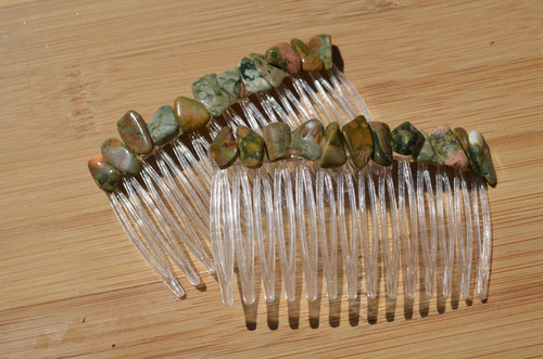Rhyolite Stone Hair Combs (Quantity of 2)