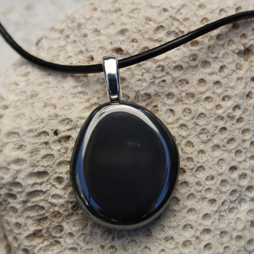 Hematite Palm Stone Necklace