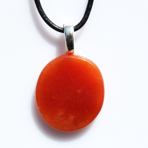 Carnelian Palm Stone Necklace