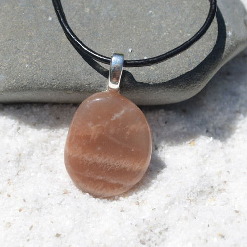 Moonstone Palm Stone Necklace
