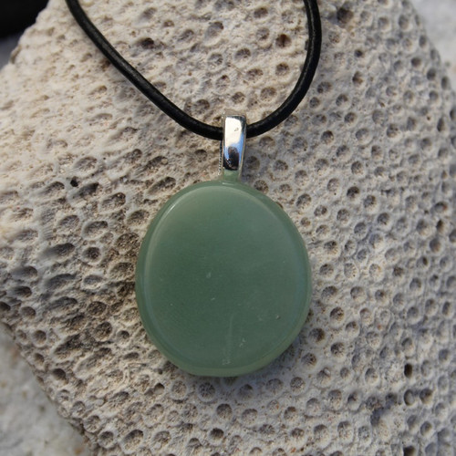 Green Aventurine Palm Stone  Necklace