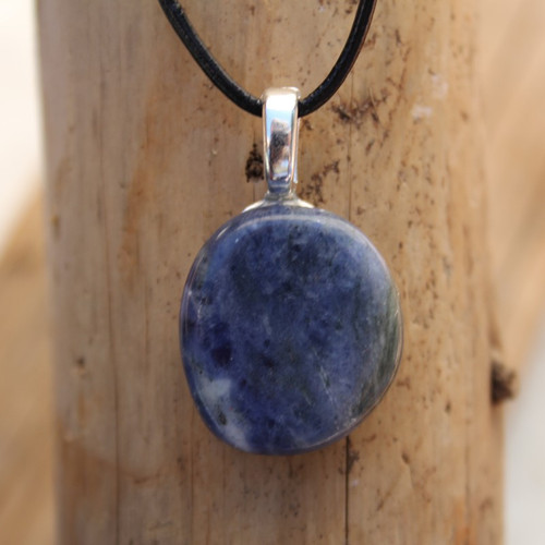Sodalite Palm Stone on a Leather Thong Necklace