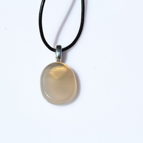 Gray Agate Palm Stone on a Leather Thong Necklace - Made to Order