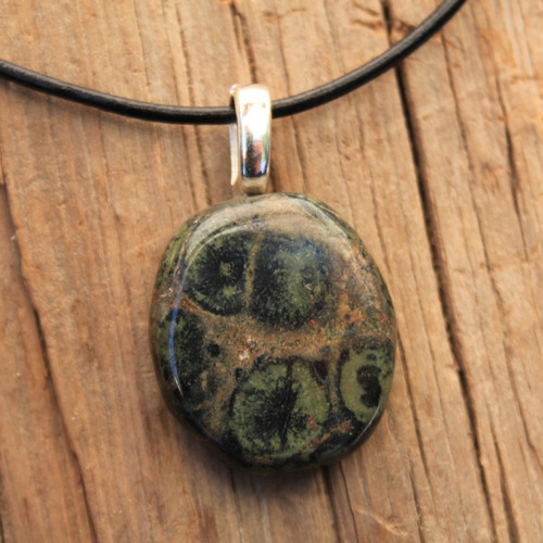 Kambaba Jasper Palm Stone on a Leather Thong Necklace