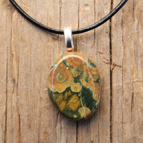 Rhyolite Palm Stone on a Leather Thong Necklace