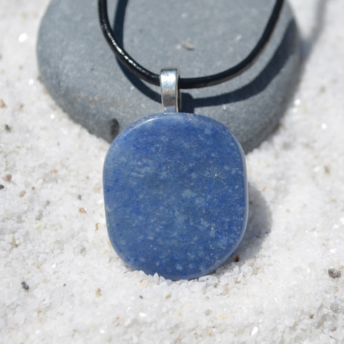 Blue Aventurine Palm Stone  Necklace