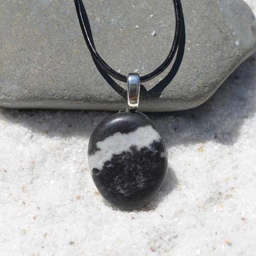Marble Zebra Jasper Palm Stone  Necklace