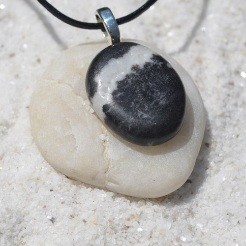 Marble Zebra Jasper Palm Stone  Necklace