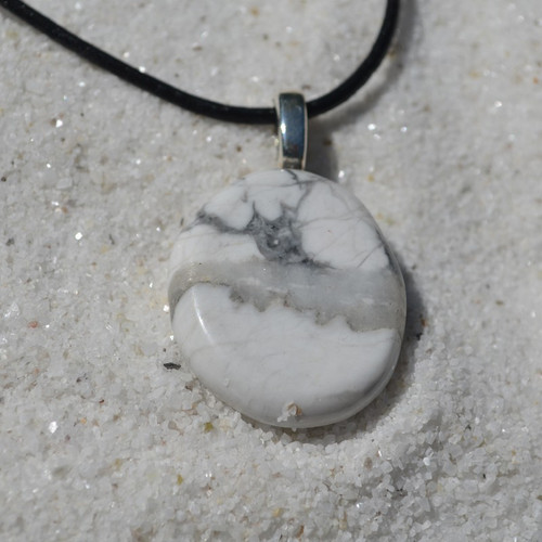 White Howlite Palm Stone on a Leather Thong Necklace