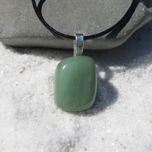 Green Aventurine Stone on a Leather Thong Necklace