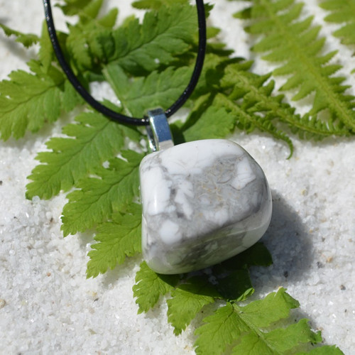 White Howlite Stone on a Leather Thong Necklace