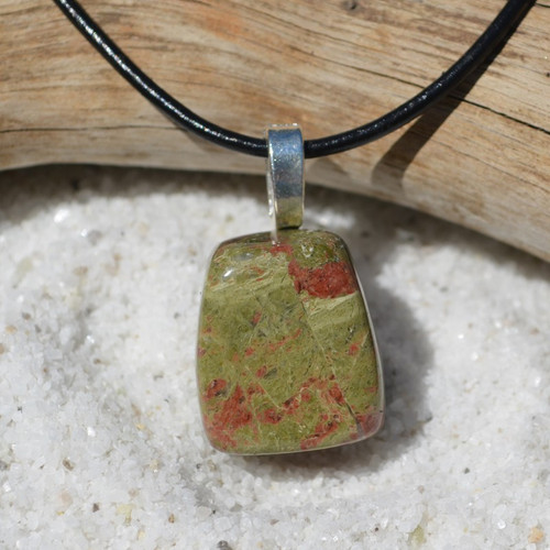 Unakite Jasper Stone on a Leather Thong Necklace