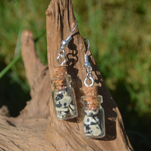 Dalmatian Stones  in Delicate Glass Vial Earrings