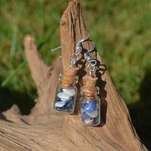 Sodalite Stones in Delicate Glass Vial Earrings