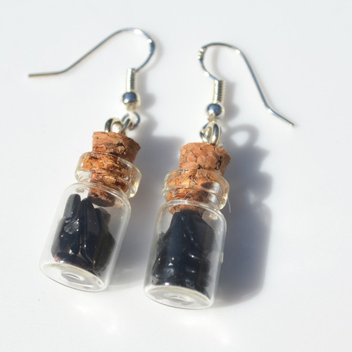 Apache Tears of Stones in Delicate Glass Vial Earrings