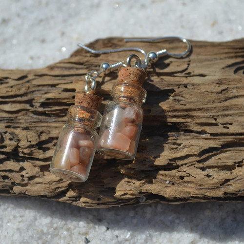 Peach Moonstones in Delicate Glass Vial Earrings