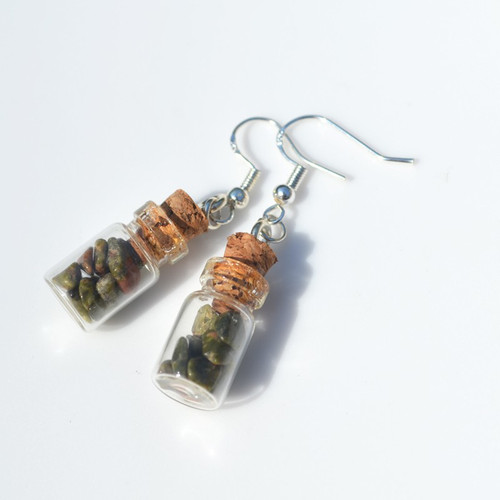 Unakite Jasper Stones in Delicate Glass Vial Earrings
