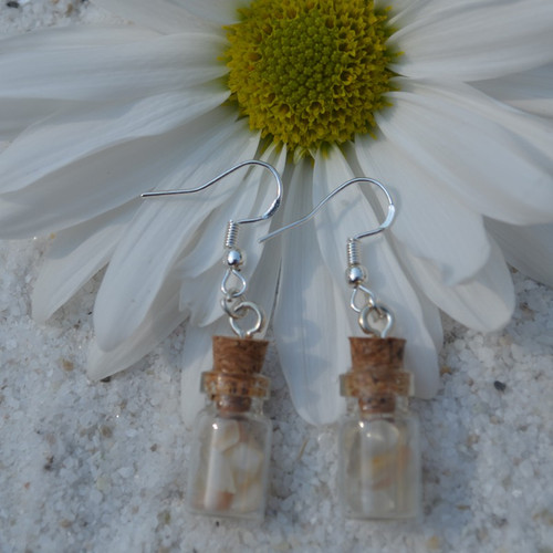 Moonstones in Delicate Glass Vial Earrings