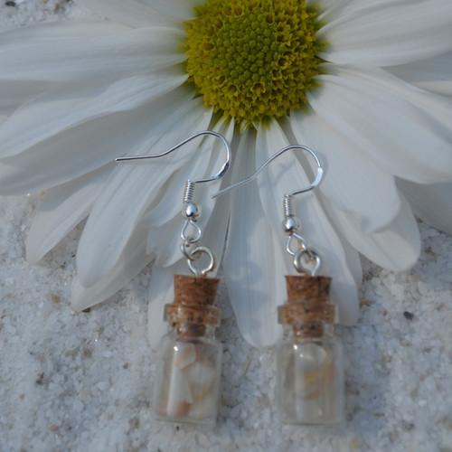 Moonstones in Delicate Glass Vial Earrings