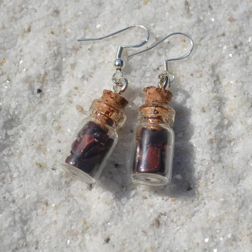 Red Tiger's Eye Stones in Delicate Glass Vial Earrings
