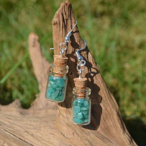 Amazonite Stones in Delicate Glass Vial Earrings
