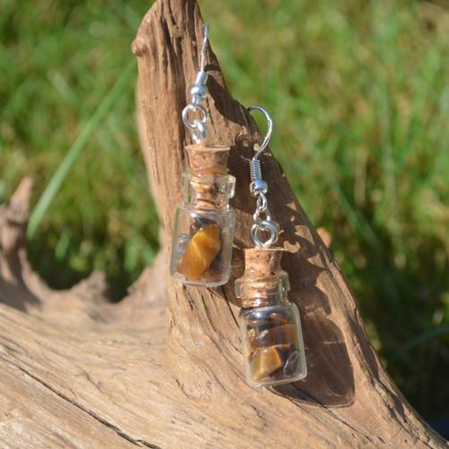 Tiger's Eye Stones in Delicate Glass Vial Earrings