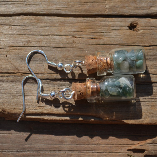 Green Moss Agate Stones in Delicate Glass Vial Earrings