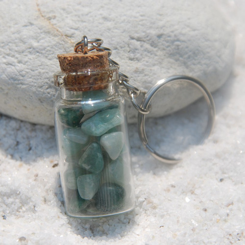 Amazonite Stones in a Glass Vial Keychain